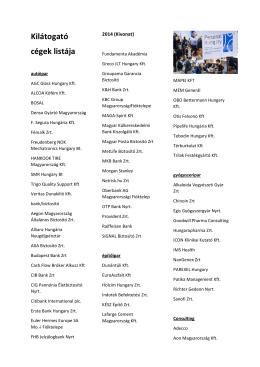 Kilátogató cégek listája_kivonat