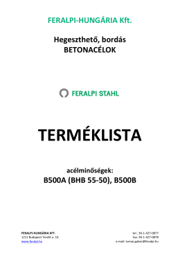 TERMÉKLISTA - Feralpi