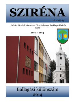 Ballagási különszám - Juhász Gyula Református Gimnázium és