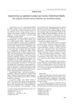 fejezetek az erdélyi limes-kutatás történetéből