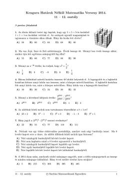 Kenguru Határok Nélkül Matematika Verseny 2014. 11 – 12. osztály