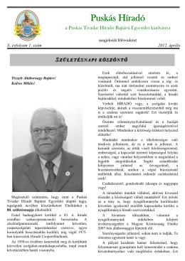 2012. Április - Puskás Tivadar Távközlési Technikum