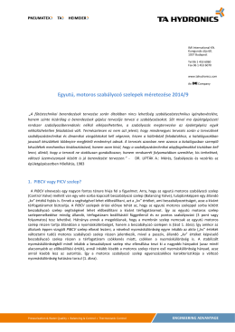 Egyutú, motoros szabályozó szelepek méretezése 2014/9