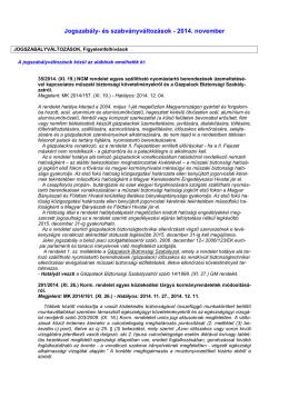 Jogszabály- és szabványváltozások - 2014