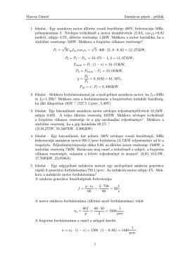 Marcsa Dániel Aszinkron gépek - példák 1. feladat : Egy aszinkron