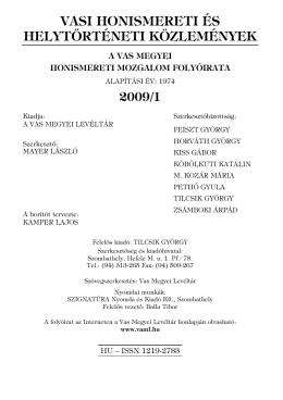 vasi honismereti és helytörténeti közlemények