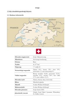 SVÁJC 1. Svájc társadalmi-gazdasági helyzete 1.1. Általános