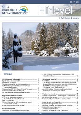 2012 tél - A Duna-kutató Intézet beköszöntője