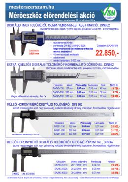 digitális inox tolómérő, 150mm / 0005 mm