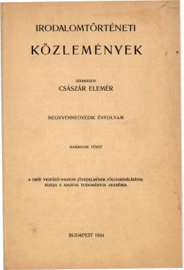 Irodalomtörténeti Közlemények 44. évf. 3. sz. (1934)