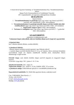 Német/angol–magyar agrár szakfordító szakirányú továbbképzési