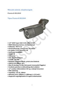 Műszaki adatok, tulajdonságok: Fisotech BGLR40 Típus Fisotech