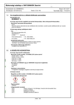 Biztonsági adatlap a 1907/2006/EK Szerint