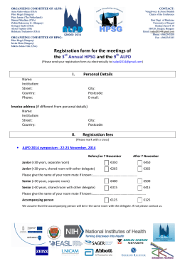 Registration form for the meetings of the 3 Annual HPSG and the 9