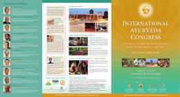 Main Speakers and Themes: - International Ayurveda Congress