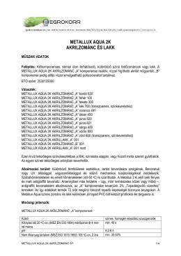 metallux aqua 2k akrilzománc és lakk
