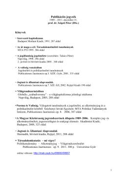 A tanszékvezető publikációs jegyzéke