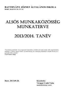Alsós munkAközösség munkAterve 2013/2014. tAnév