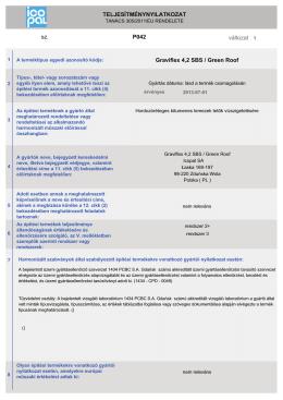 TELJESÍTMÉNYNYILATKOZAT változat sz. P042 Graviflex 4