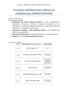 Innovatív vállalkozások indítása és működtetése (BMEGT20V100)
