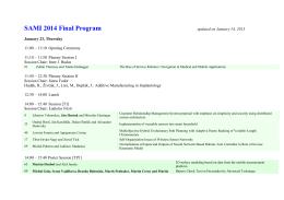 SAMI 2014 Final Program
