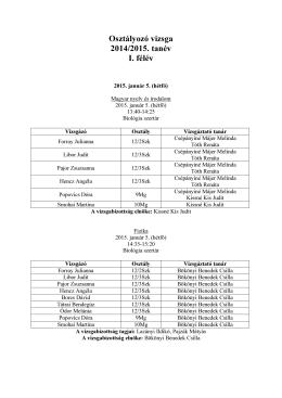 Osztályozó vizsga 2014/2015. tanév I. félév