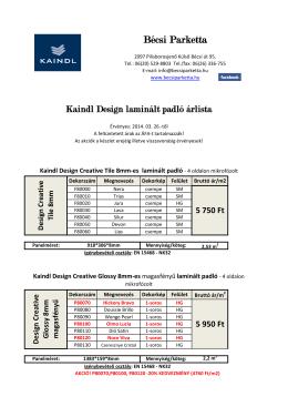 Kaindl Design laminált padló árlista
