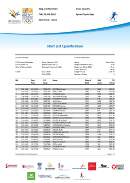 Start List Qualification