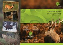 Vadászati árlista Hunting Pricelist