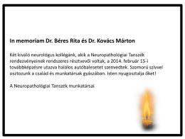 In memoriam Dr. Béres Rita és Dr. Kovács Márton