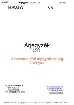Árjegyzék - HAGA® Automatika Kft.