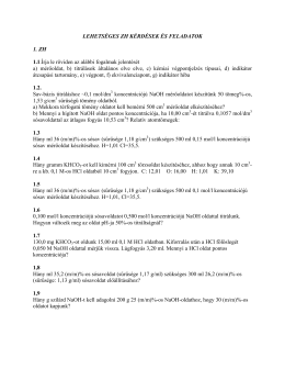 ZH-kérdés -minták I.