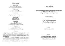 MEGHÍVÓ XXI. Növénynemesítési Tudományos Napokra
