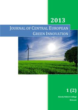 I. évfolyam 2. szám letöltése - Journal of Central European Green