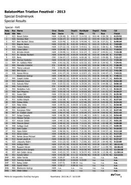 2013 Special Eredmények Special Results