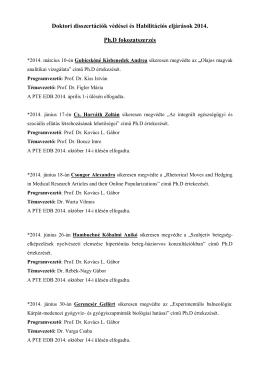 2014. év - PTE Egészségtudományi Kar - Doktori Iskola