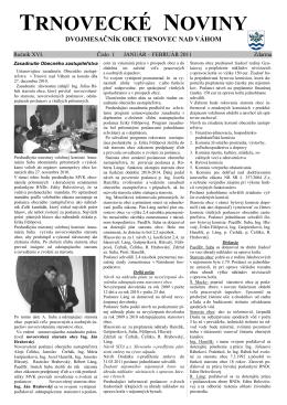Zasadnutia obecného zastupiteľstva v Trnovci nad Váhom