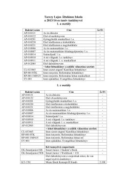 Kérem, kattintson e sorra! Tankönyvjegyzék 2013/2014