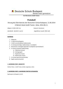 A 2014. június11-i Szülői Tanács ülésének jegyzőkönyve