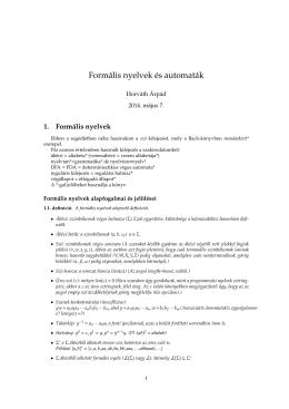 Formális nyelvek és automaták
