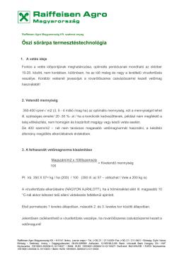 Őszi sörárpa termesztéstechnológiája - Raiffeisen-Agro