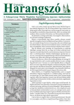 letöltés (PDF - 4,44 MB)... - Mária Magdolna Plébánia, Zalaegerszeg
