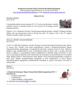 8. hét - Komárom-Esztergom Megyei Katasztrófavédelmi Igazgatóság