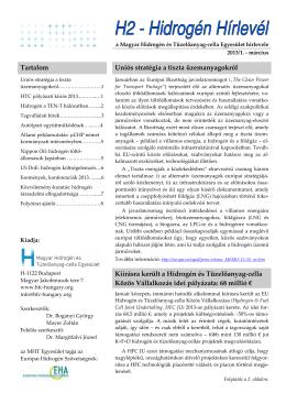 2013. március - Magyar Hidrogén és Tüzelőanyag