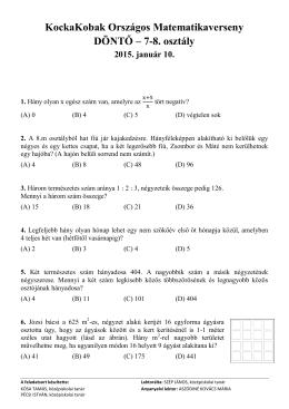 7-8. évfolyam - KockaKobak Országos Matematikaverseny
