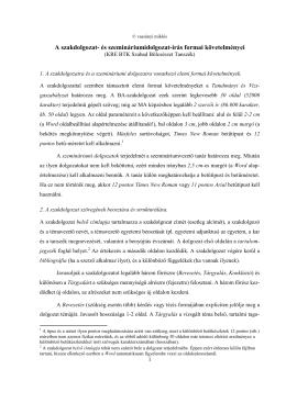 A szakdolgozat- és szemináriumidolgozat-írás formai