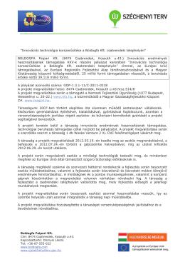 """""""Innovációs technológia korszerűsítése a Boldogfa Kft. csabrendeki"""