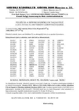 SIÓFOKI RÁDIÓKLUB SIÓFOK 8600 Bányász u. 25.