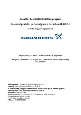 Grundfos Beszállítói Kiválóság program 2011-2013