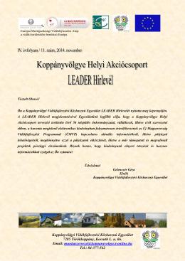 Koppányvölgye LEADER Hírlevél 2014 november